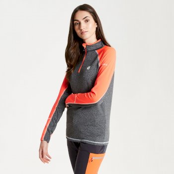 Women's Involved Core Stretch Half Zip Midlayer Charcoal Fiery Coral