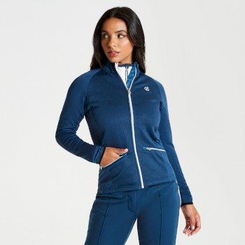 Women's Solaria Core Stretch Full Zip Luxe Midlayer Blue Wing