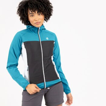 Women's Duplicity Hooded Softshell Jacket Fresh Water Blue Black