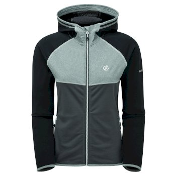 Women's Courteous II Full Zip Hooded Stretch Midlayer Black Ebony Grey
