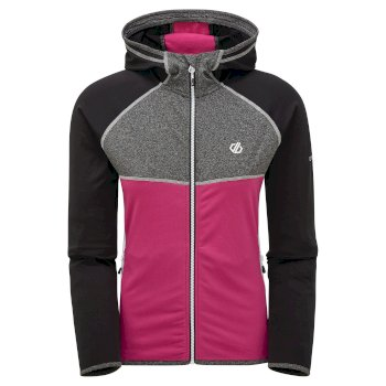 Women's Courteous II Full Zip Hooded Stretch Midlayer Black Active Pink