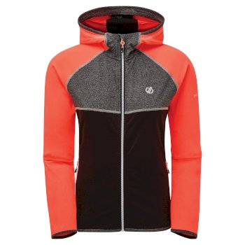 Women's Courteous II Full Zip Hooded Stretch Midlayer Fiery Coral Black