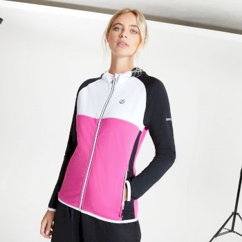 Women's Courteous II Full Zip Hooded Stretch Midlayer Active Pink Black