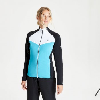 Women's Allegiance II Full Zip Core Stretch Midlayer Azure Blue Black