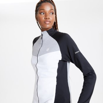 Women's Allegiance II Full Zip Core Stretch Midlayer White Black Ash Grey