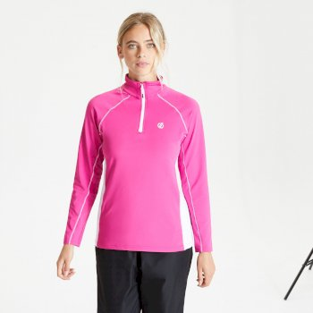 Women's Involved II Half Zip Lightweight Core Stretch Midlayer Active Pink White