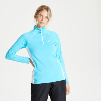 Women's Involved II Half Zip Lightweight Core Stretch Midlayer Azure Blue White