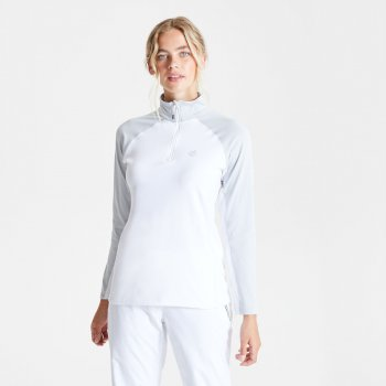 Women's Involved II Half Zip Lightweight Core Stretch Midlayer White Argent Grey