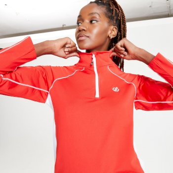 Women's Involved II Half Zip Lightweight Core Stretch Midlayer Seville Red White