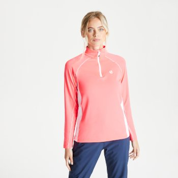 Women's Involved II Half Zip Lightweight Core Stretch Midlayer Neon Pink White