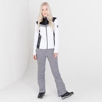 Swarovski Embellished - Women's Inspired Waterproof Luxe Ski Pants White Dogtooth Print