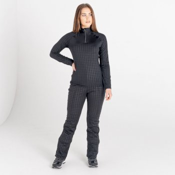 Swarovski Embellished - Women's Inspired Waterproof Luxe Ski Pants Black Dogtooth Print