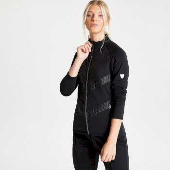 Swarovski Embellished - Women's Dominion Full Zip Lightweight Luxe Core Stretch Midlayer Black