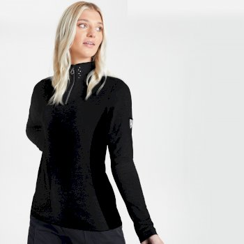 Swarovski Embellished - Women's Bejewel Half Zip Lightweight Luxe Core Stretch Midlayer Black
