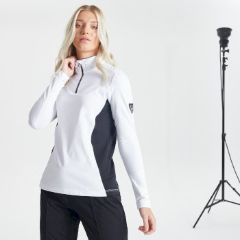 Swarovski Embellished - Women's Bejewel Half Zip Lightweight Luxe Core Stretch Midlayer White