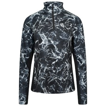 Women's Divulge Half Zip Lightweight Core Stretch Midlayer Black Flow Print