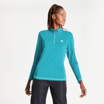 Women's Lowline II Half Zip Lightweight Core Stretch Midlayer Azure Blue