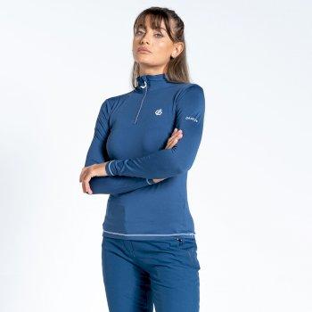 Sous-couche Femme stretch extensible et légère LOWLINE II avec ouverture 1/2 zip  Bleu