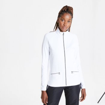 Swarovski Embellished - Women's Solaria II Full Zip Luxe Core Stretch Midlayer White