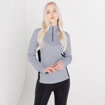 Swarovski Embellished - Women's Outfast Core Stretch Midlayer White Dogtooth Print