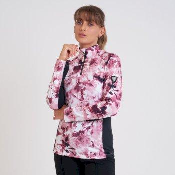 Swarovski Embellished - Première Couche Légère Femme Outfast Luxe Demi Zip Rose