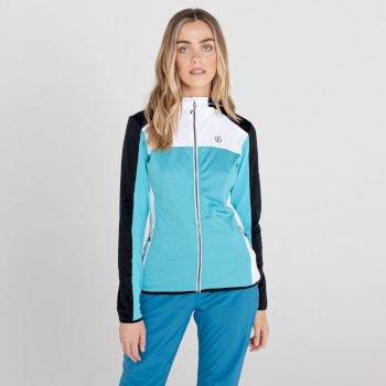 Women's Courage Zip Through Core Stretch Midlayer Azure Blue Black White