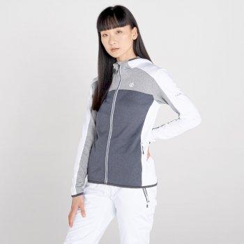 Women's Courage Zip Through Core Stretch Midlayer White Ash Grey Marl