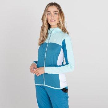 Women's Courage Zip Through Core Stretch Midlayer Aruba Blue Dark Methyl