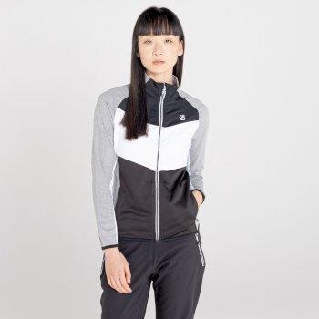 Women's Elation Zip Through Core Stretch Midlayer Ash Grey Marl Black
