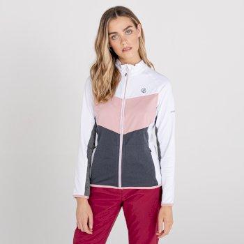 Women's Elation Zip Through Core Stretch Midlayer White Powder Pink