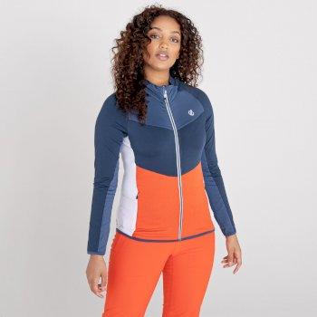 Women's Elation Zip Through Core Stretch Midlayer Nightfall Navy Grenadine Orange