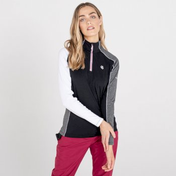 Women's Default II Full Zip Core Stretch Midlayer Black Ebony Grey