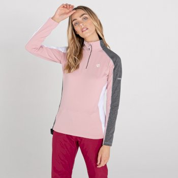 Women's Default II Full Zip Core Stretch Midlayer Powder Pink Grey