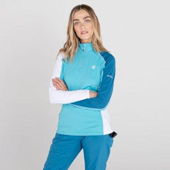 Women's Default II Full Zip Core Stretch Midlayer Azure Blue White