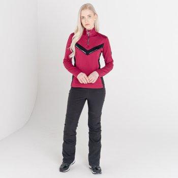 Swarovski Embellished - Women's Bejewel II Core Stretch Midlayer Beetroot Black