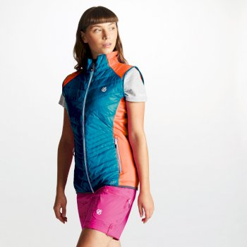 Women's Airwise Wool Hybrid Insulated Vest Blue Jewel Cyber Pink
