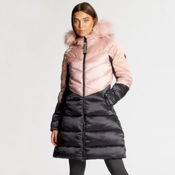 Dare 2B x Julien Macdonald - Women's Baroness Quilted Parka Jacket Blush