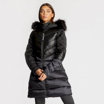 Dare 2B x Julien Macdonald - Women's Baroness Quilted Parka Jacket Black