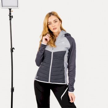 Women's Nominate Wool Hybrid Hooded Baffled Jacket Ebony Grey Argent Grey