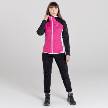 Women's Nominate Wool Hybrid Hooded Baffled Jacket Active Pink Black