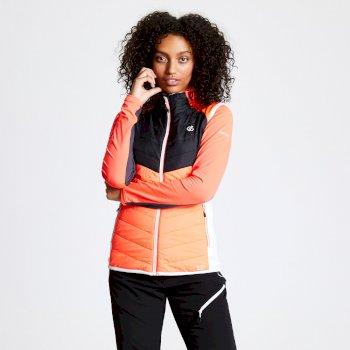Women's Nominate Wool Hybrid Baffled Vest Fiery Coral Black