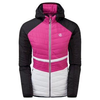 Women's Surmount Wool Quilted Hooded Jacket Active Pink Black
