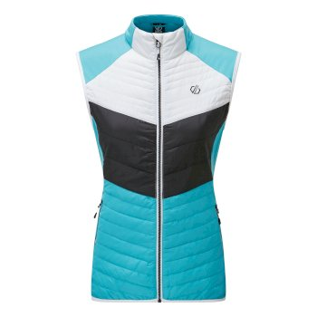Women's Surmount Wool Quilted Bodywarmer Azure Blue White