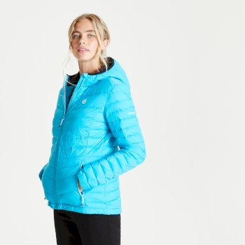 Women's Elative II Down Fill Quilted Hooded Jacket Azure Blue