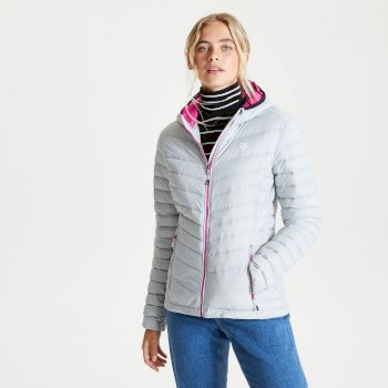 Women's Elative II Down Fill Quilted Hooded Jacket Argent Grey