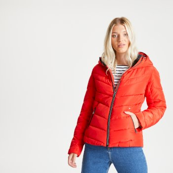 Swarovski Embellished - Women's Reputable Insulated Quilted Hooded Luxe Jacket Seville Red