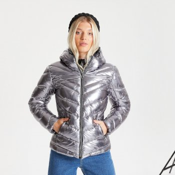 Swarovski Embellished - Women's Reputable Insulated Quilted Hooded Luxe Jacket Chrome