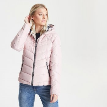 Swarovski Embellished - Women's Reputable Insulated Quilted Hooded Luxe Jacket Pale Mauve