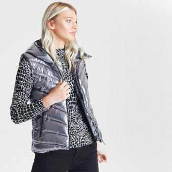 Swarovski Embellished - Women's Complicate Quilted Hooded Luxe Bodywarmer Chrome