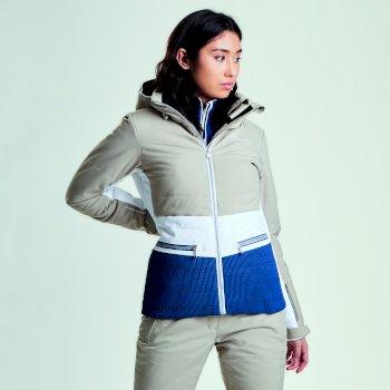 Women's Surpass Ski Jacket Macchiato White Blue Wing